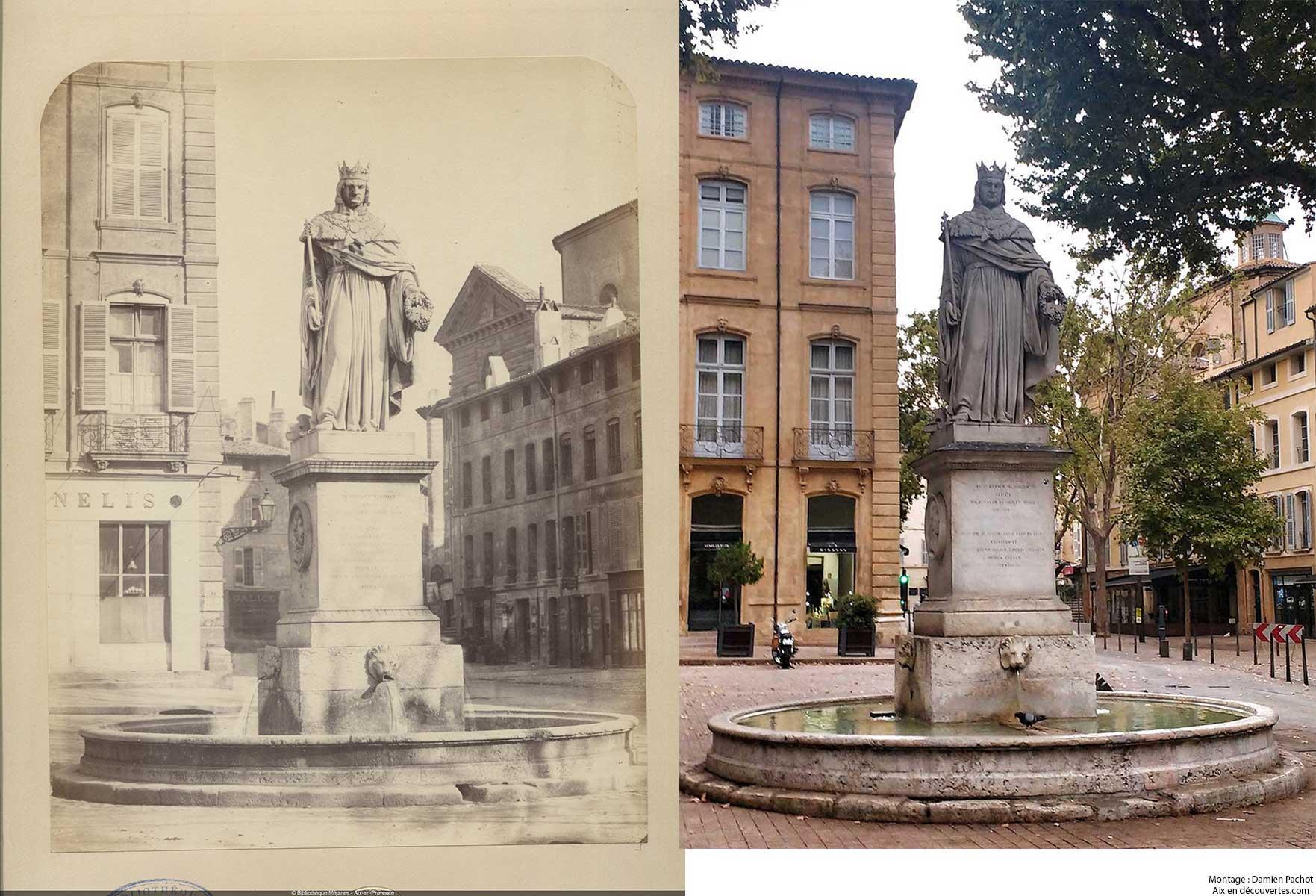 La fontaine du roi René du temps de Gondran et de nos jours - Bibliothèque Méjanes, Aix-en-Provence, Cote : PHO. GON. (1), 17