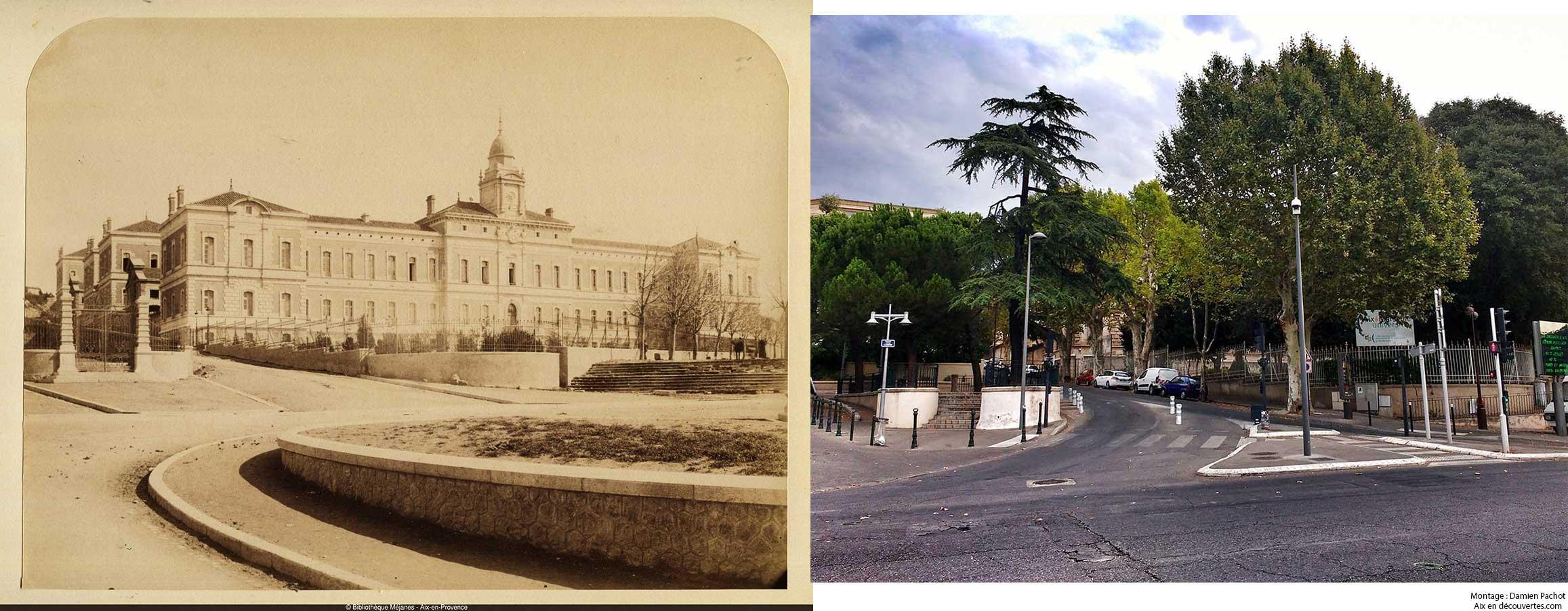 L'ancienne Ecoloe Normal (IUFM actuel) au XIXe et de nos jours - Bibliothèque Méjanes, Aix-en-Provence, Cote : PHO. GON. (2), 91