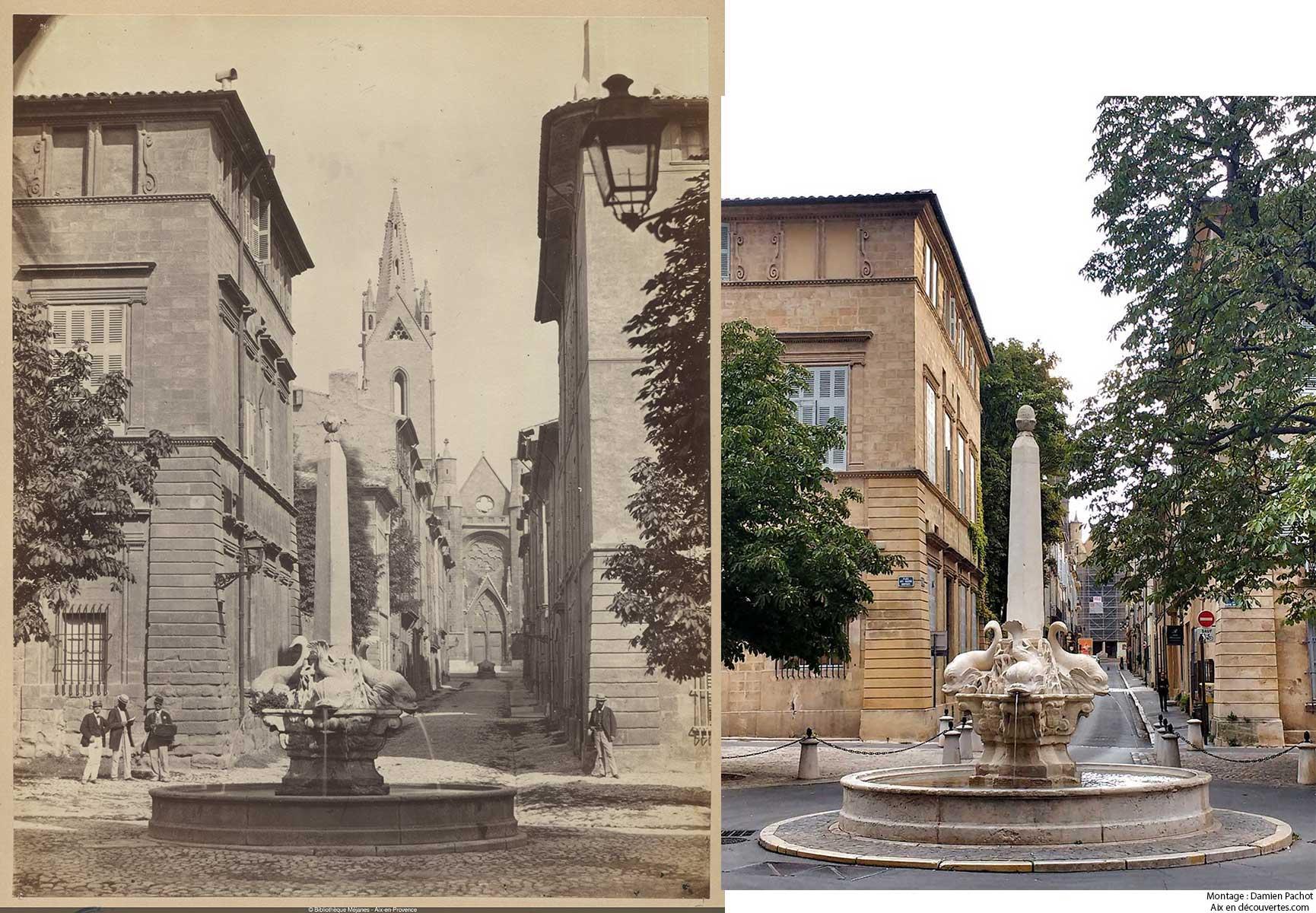 La fontaine des Quatre Dauphins vue au XIXe et de nos jours - Bibliothèque Méjanes, Aix-en-Provence, Cote : PHO. GON. (2), 68