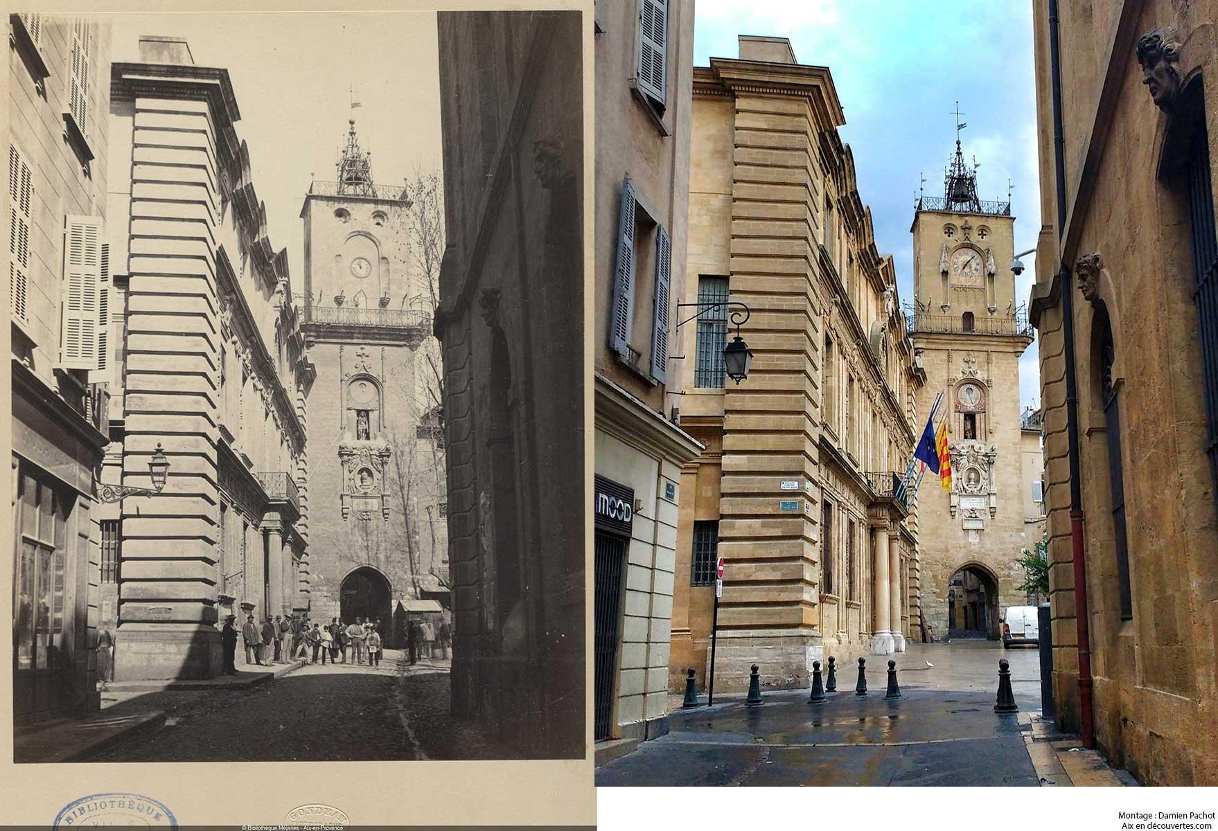 La tour de l'horloge au XIX et de nos jours - Bibliothèque Méjanes, Aix-en-Provence, Cote : PHO. GON. (1), 40
