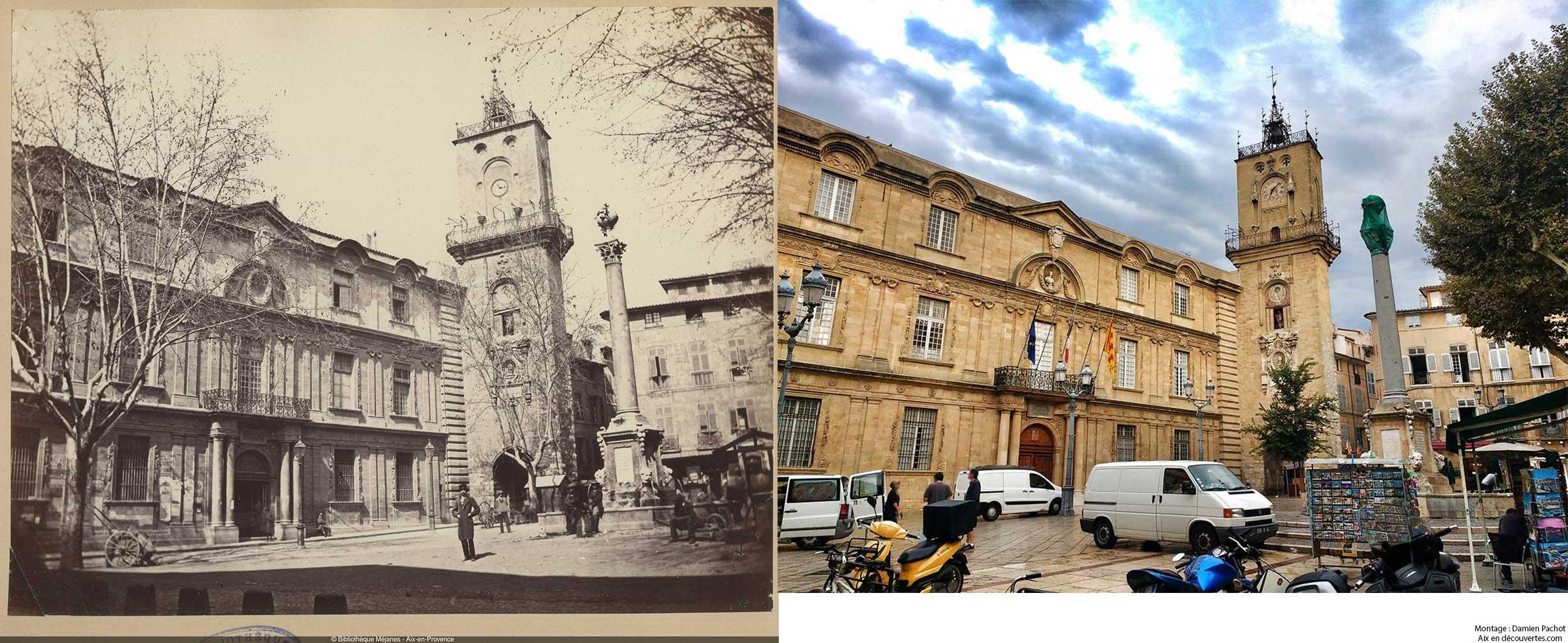 La place de l'hôtel de ville au XIXe et de nos jours - Bibliothèque Méjanes, Aix-en-Provence, Cote : PHO. GON. (1), 34