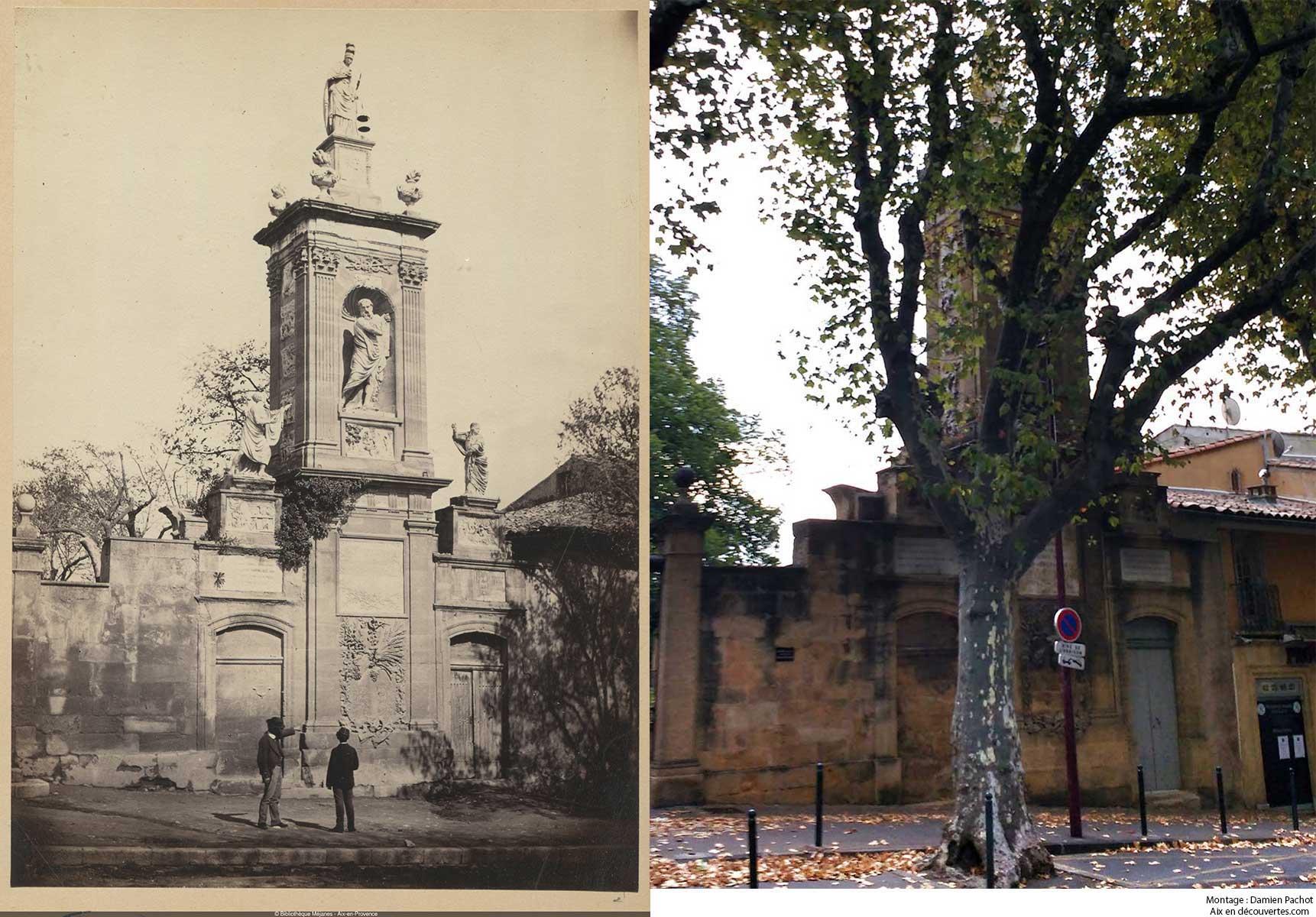 Le monument Joseph Sec au XIXe et de nos jours - Bibliothèque Méjanes, Aix-en-Provence, Cote : PHO. GON. (1), 60