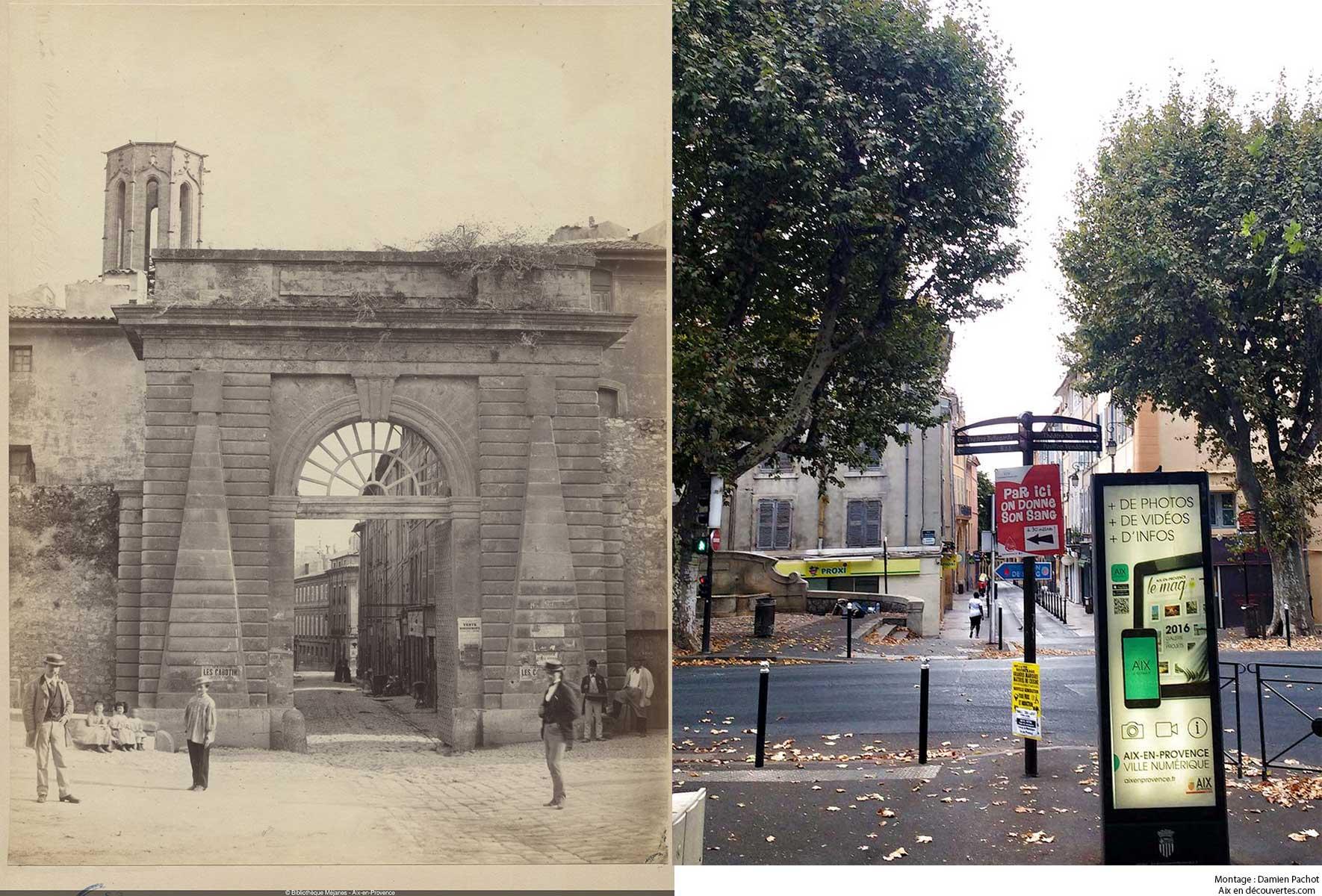 L'ancienne porte Notre-Dame au XIXe, aujourd'hui disparue - Bibliothèque Méjanes, Aix-en-Provence, Cote : PHO. GON. (1), 56