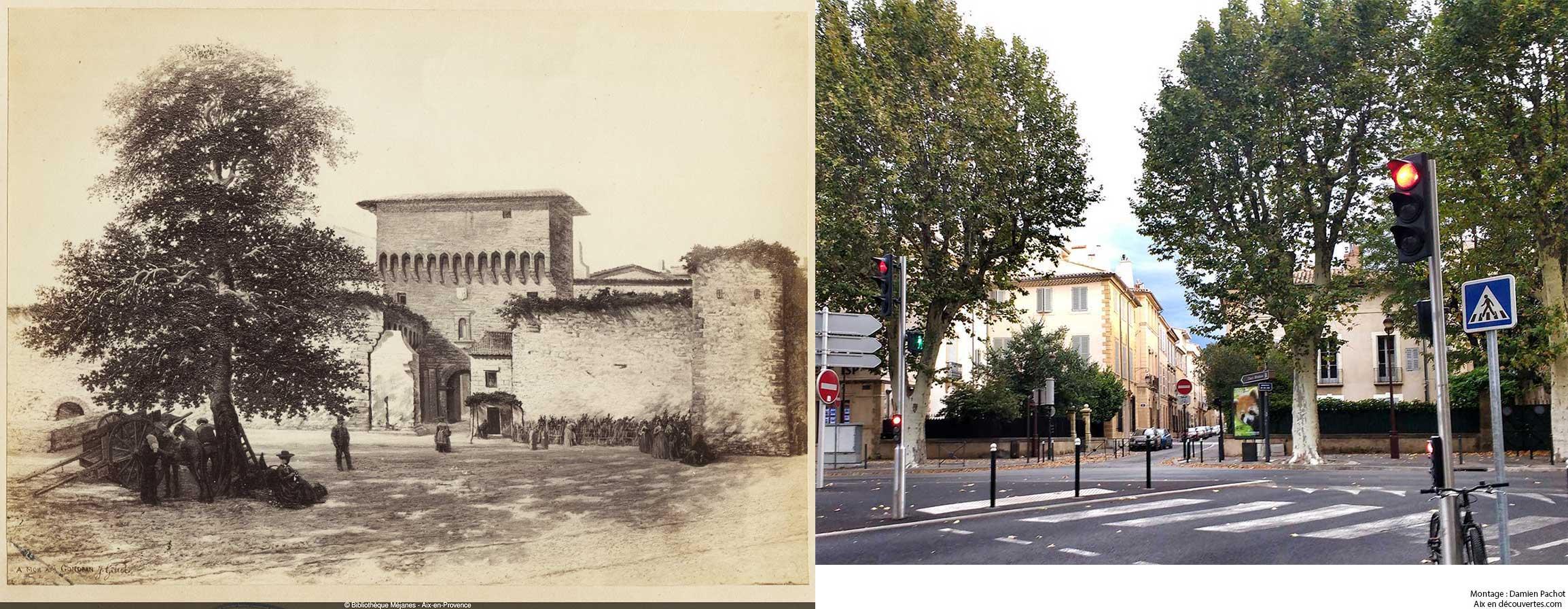 Cliché d'une esquisse de l'ancienne porte d'Orbitelle et l'emplacement qu'elle occupait - Bibliothèque Méjanes, Aix-en-Provence, Cote : PHO. GON. (1), 64