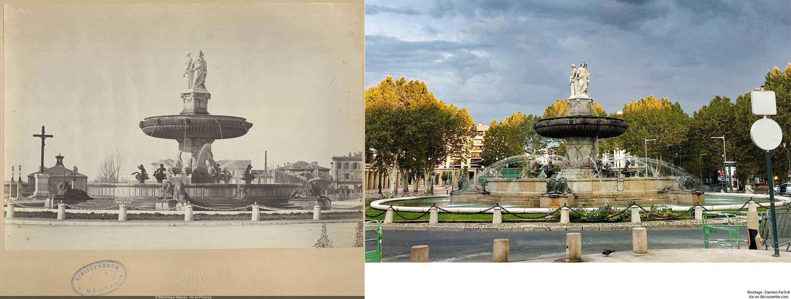 La place de la Rotonde par Gondran et vue de nos jours