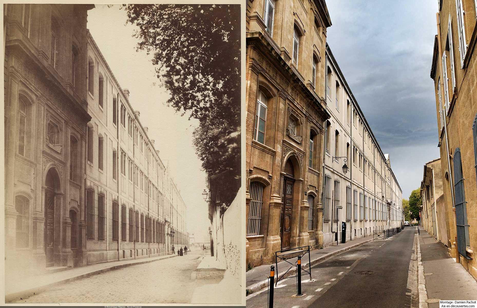 La rue Cardinale au XIXe siècle et de nos jours - Bibliothèque Méjanes, Aix-en-Provence, Cote : PHO. GON. (2), 73
