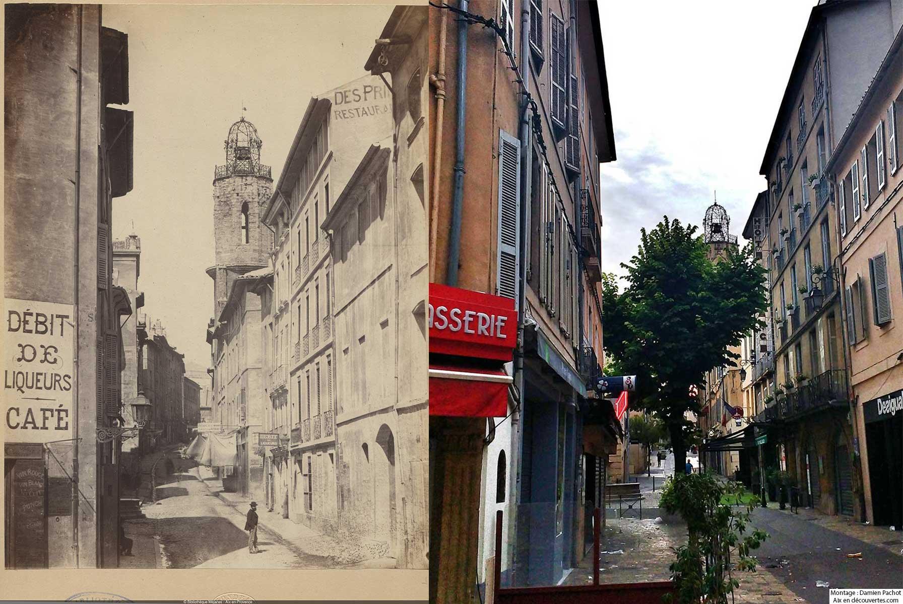 La rue Espariat vue du côté de la place de la Rotonde