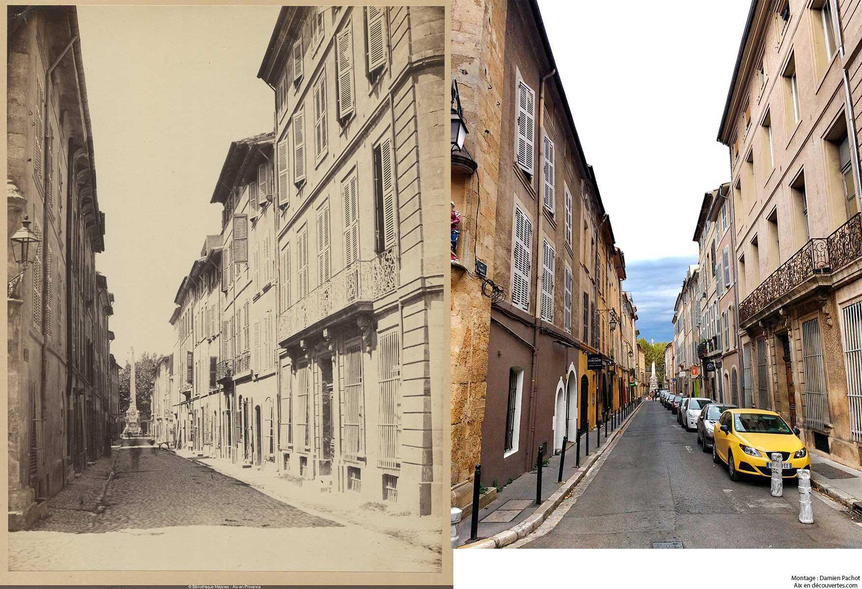 La rue Portalis au XIXe siècle et de nos jours - Bibliothèque Méjanes, Aix-en-Provence, Cote : PHO. GON. (2), 83