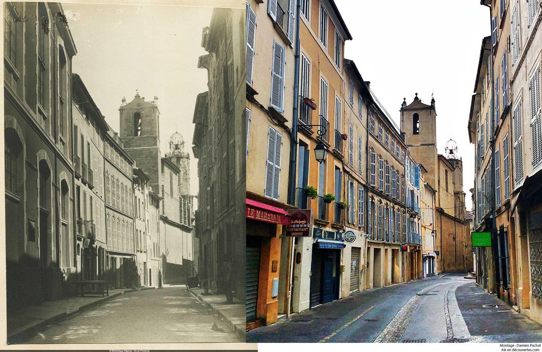 La rue des Tanneurs au XIXe siècle et de nos jours - Bibliothèque Méjanes, Aix-en-Provence, Cote : PHO. GON. (2), 72