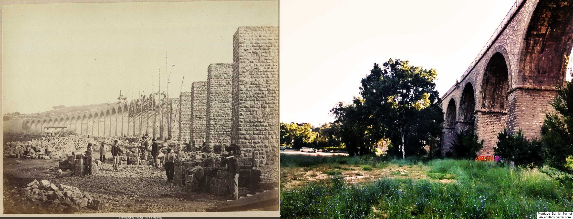 viaduc de l'Arc de Meyran en construction vers 1870-1877 et de nos jours - Bibliothèque Méjanes, Aix-en-Provence, Cote : PHO. GON. (3), 130