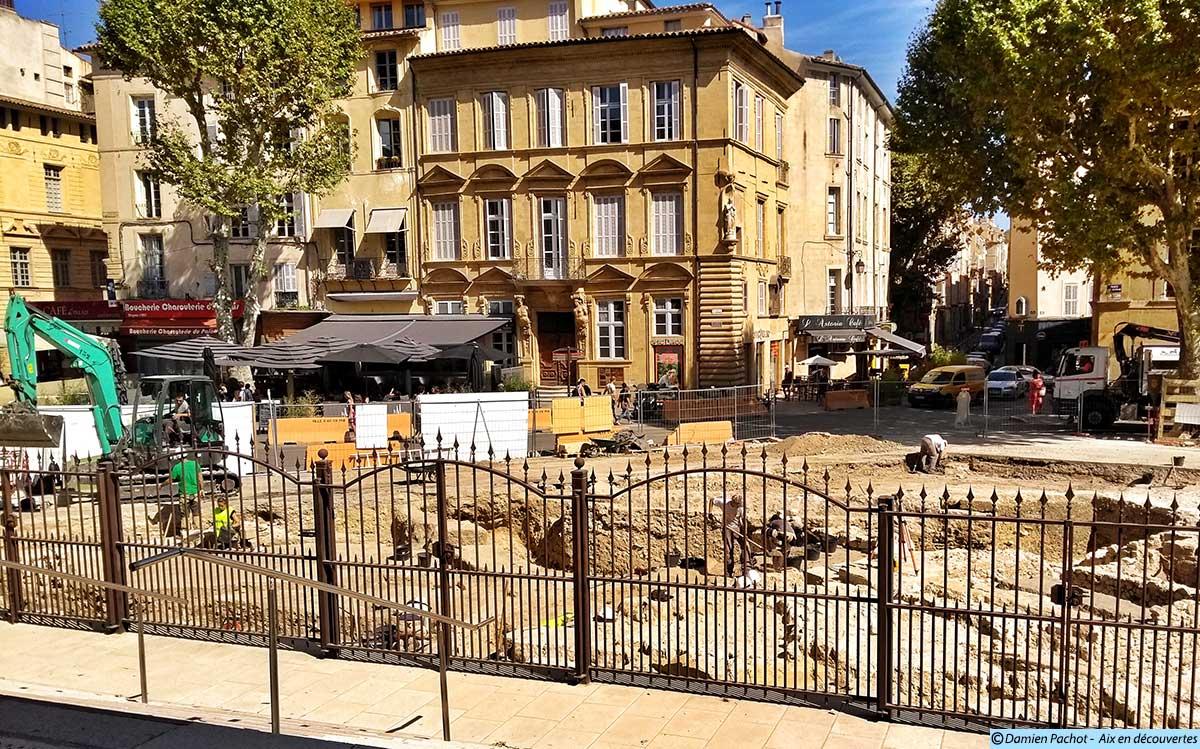 Les fouilles vues depuis le palais de justice - (Photo prise le 7 septembre 2017)