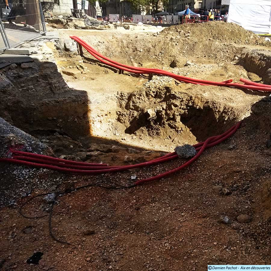 L'état des fouilles près du passage Agard le 16 septembre 2017