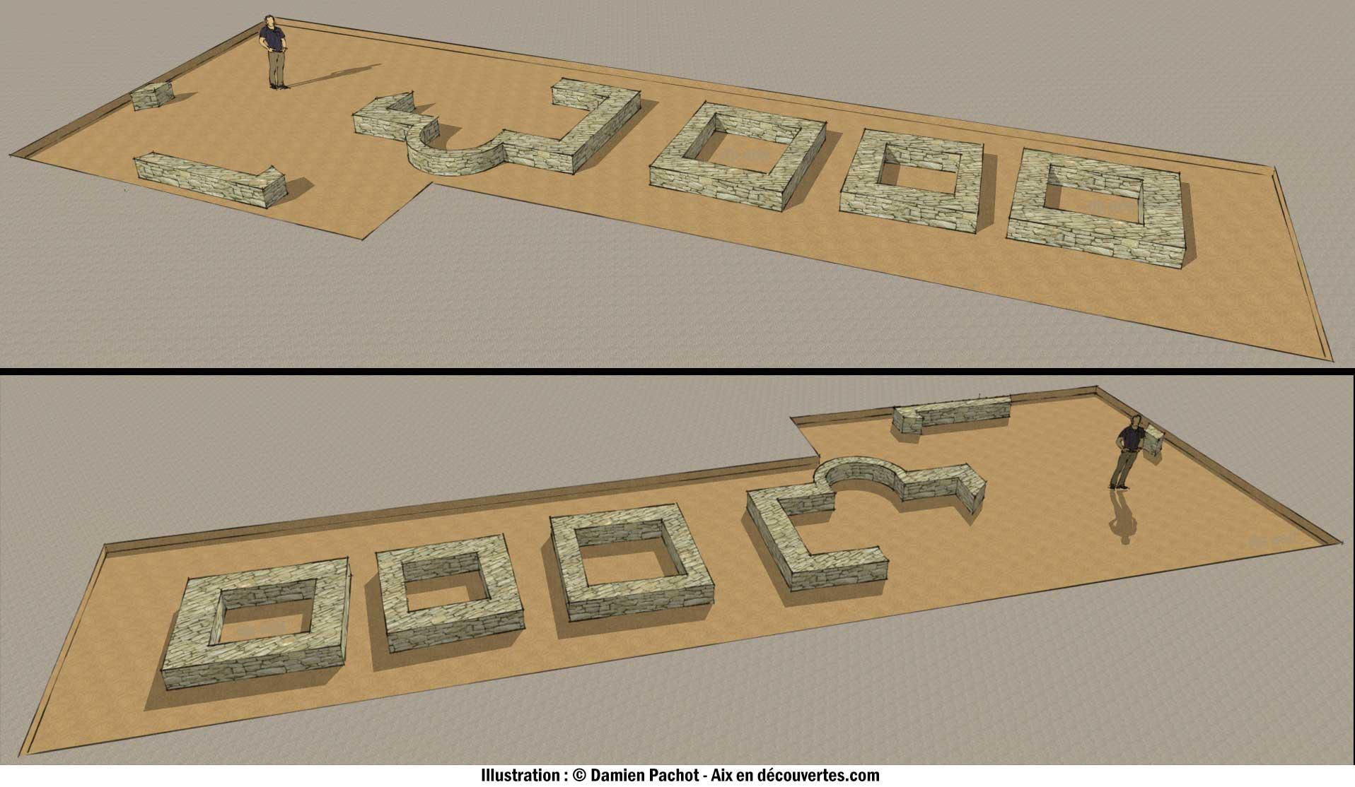 Modélisation des quatre édifices du 2e siècle retrouvés au domaine de la Grassie en 2010