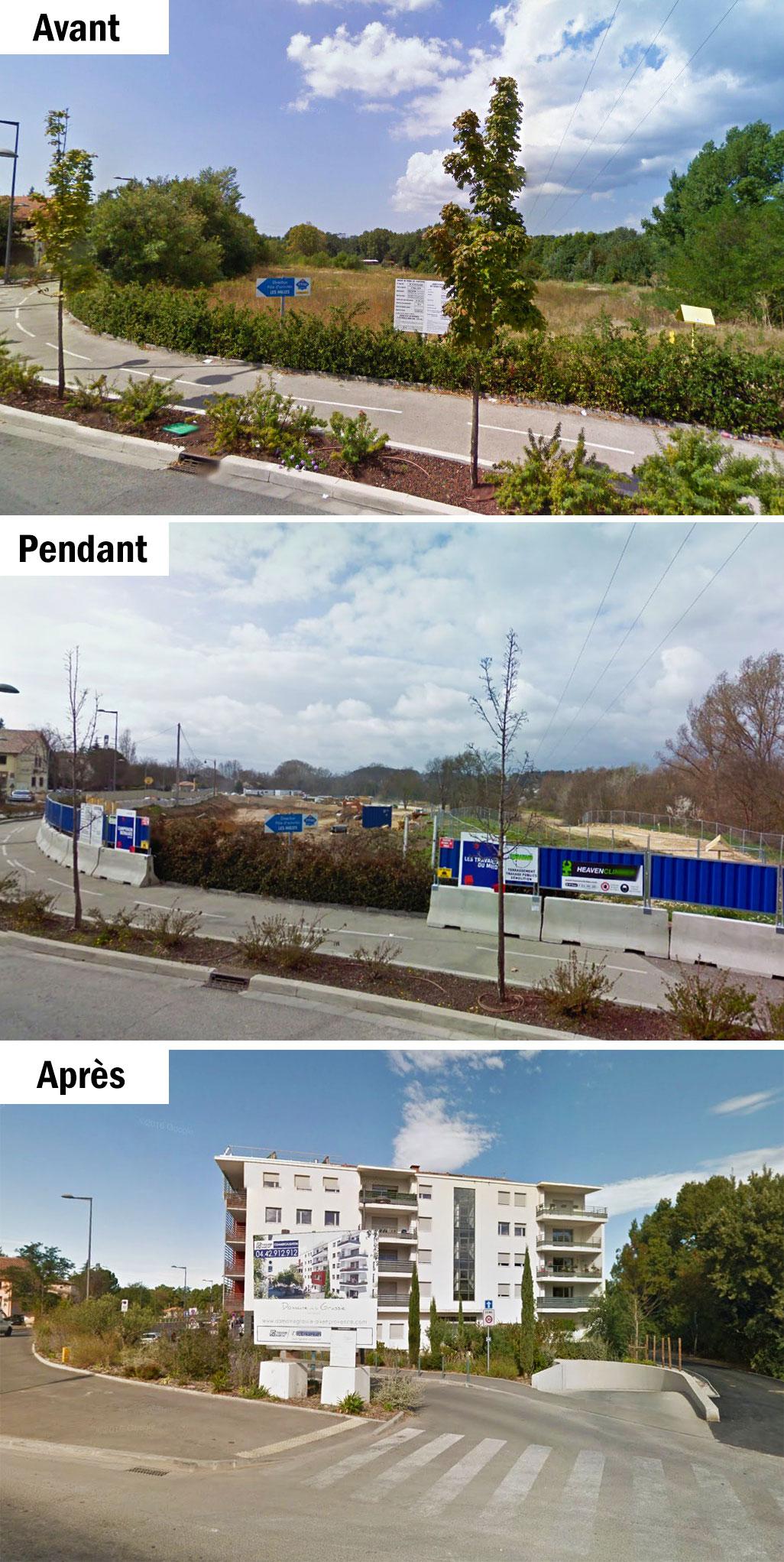 L'évolution du site du domaine de la Grassie en 2009-2011-2016 - Photo : © Google Maps
