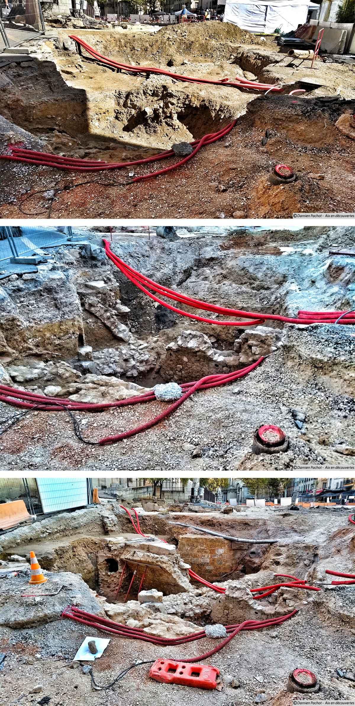 Les fouilles effectuées à la sortie du passage Agard au fil des semaines
