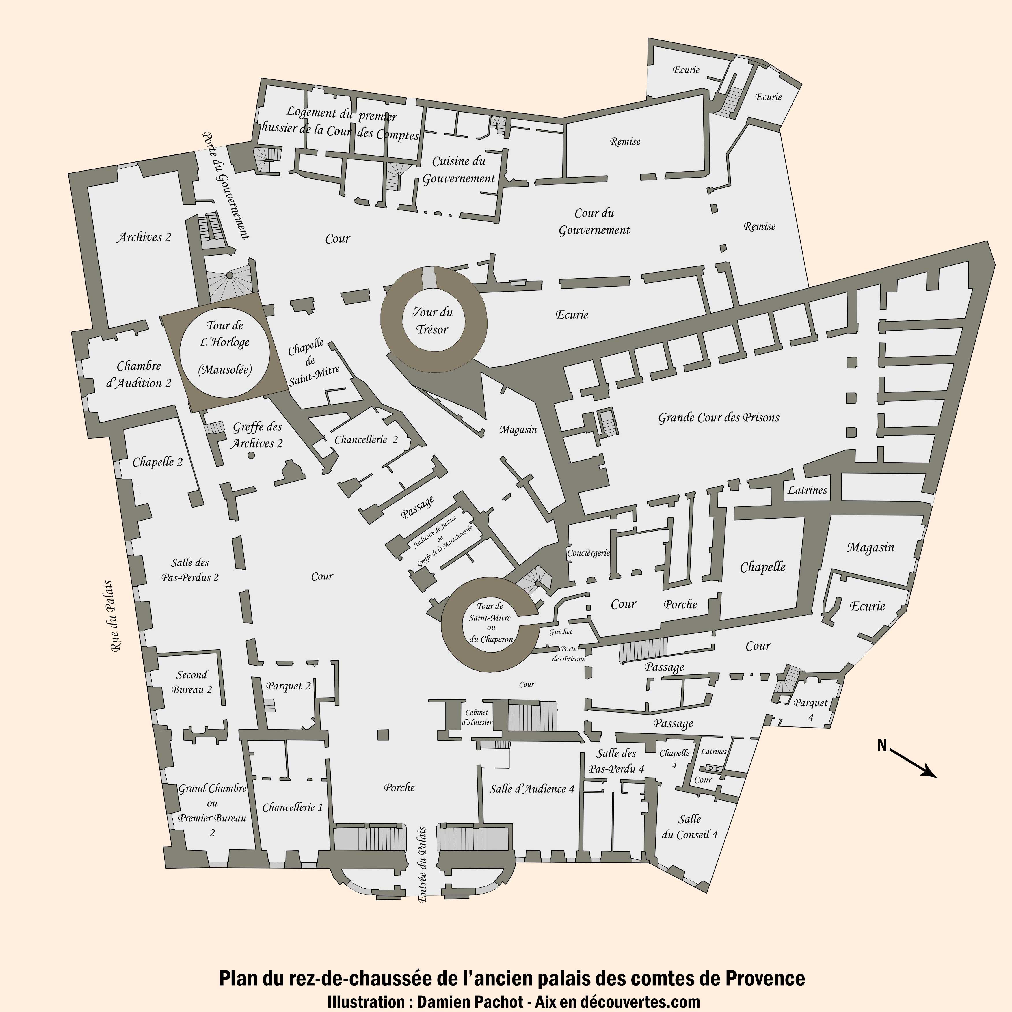 Plan du rez-de chaussée du palais comtal réalisé à partir de celui conservé à la bibliothèque Méjanes - (Cliquez sur l'image pour l'agrandir)