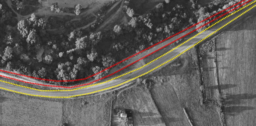 L'ancien et le nouveau tracé de la route des Milles en 1964 - Photo © Géoportail / 1964