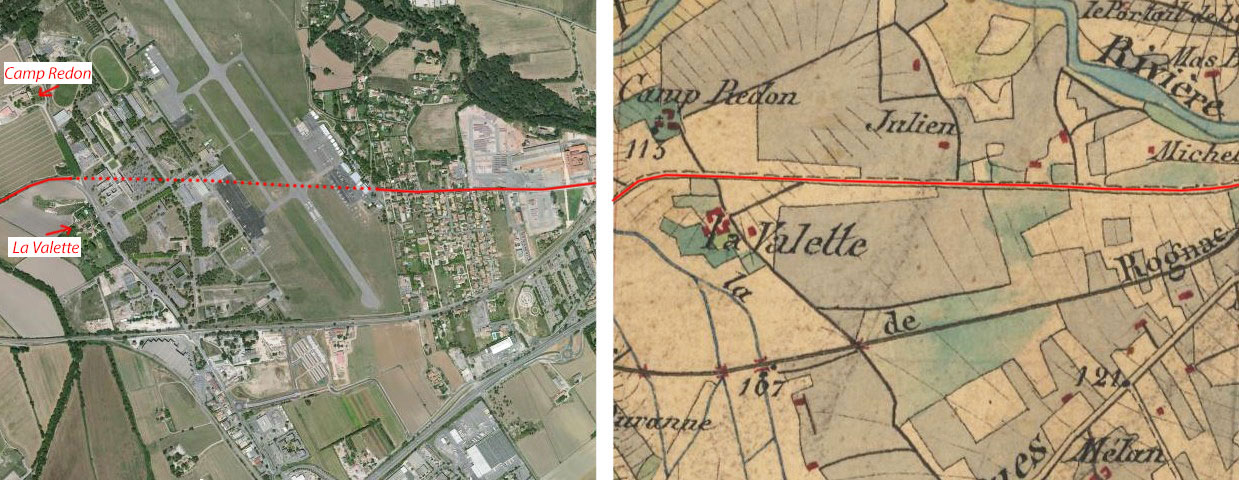 L'ancien chemin passant au travers de la zone occupée aujourd'hui par l'aérodrome