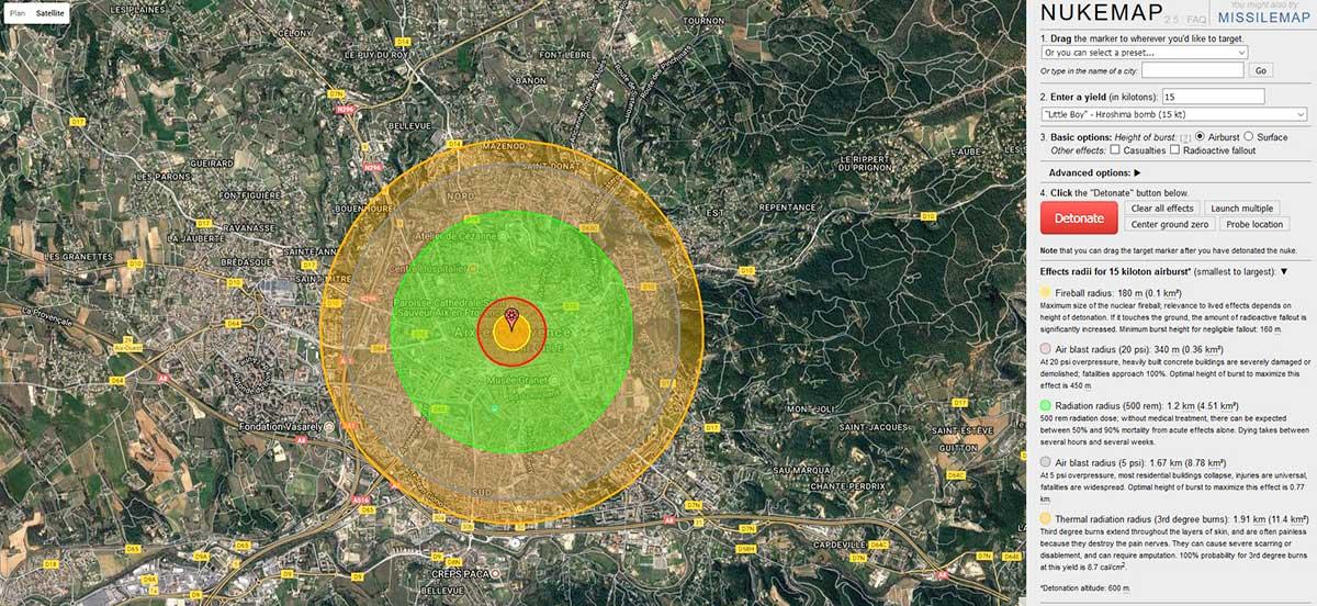 Les effets des 15 kt de la bombe lâchée au dessus d'Hiroshima en 1945 simulés sur Aix - © Nuclearsecrecy.com