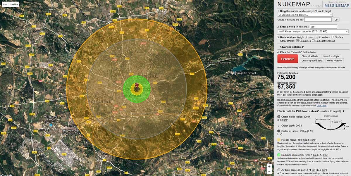 Les effets des 150 kt de la bombe Nord-Coréenne testée en 2017 simulés sur Aix - © Nuclearsecrecy.com