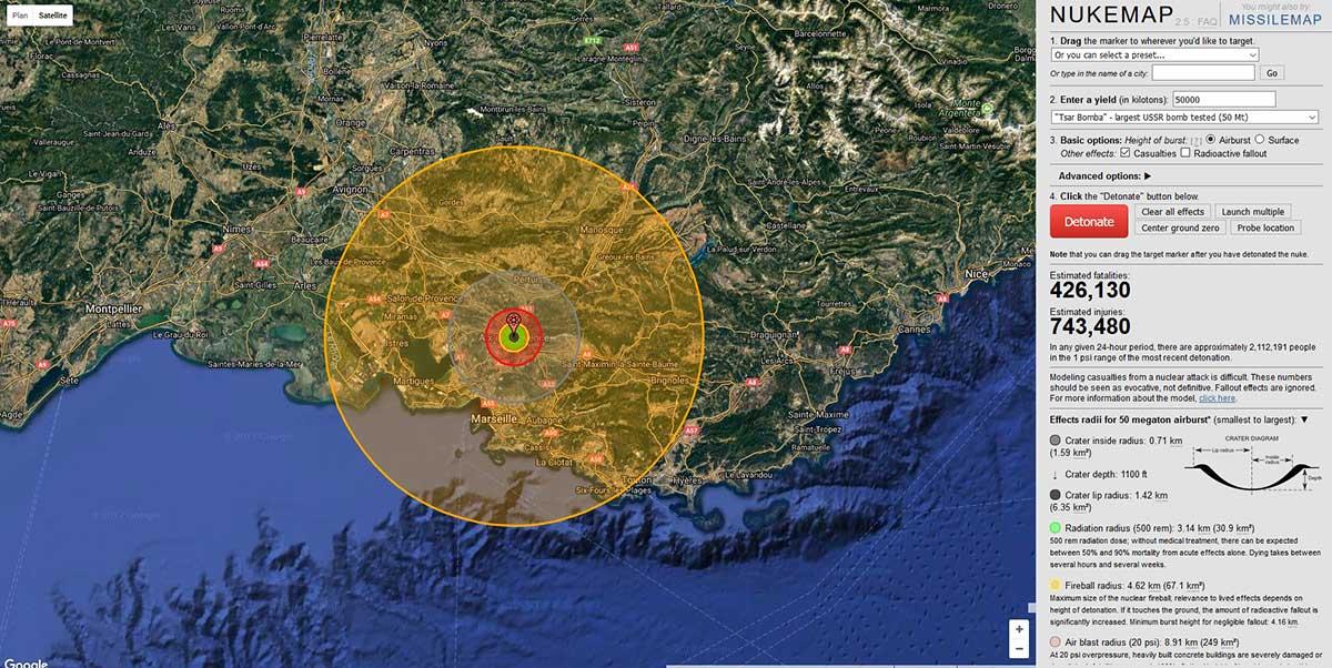 Les effets des 57 mt de la Tsar Bomba testée en 1961 simulés sur Aix - © Nuclearsecrecy.com