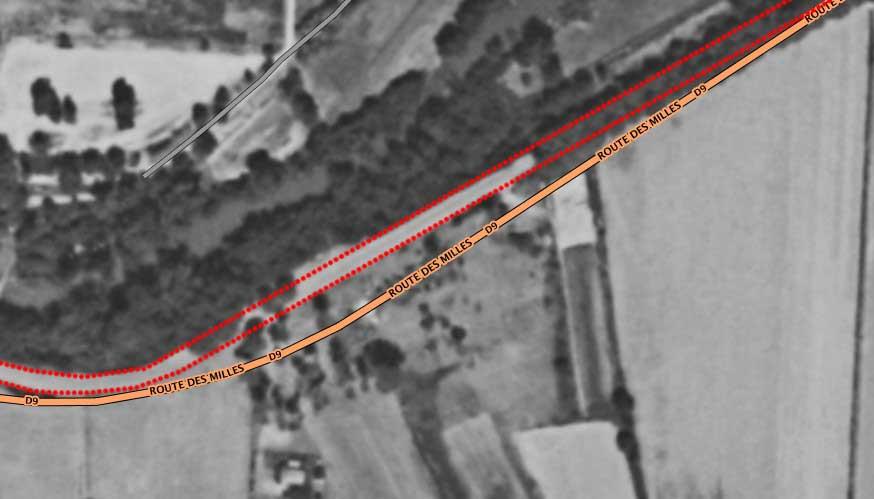 Le tracé actuel superposé à une vue des lieux en 1950 - Photo : Géoportail / 1950