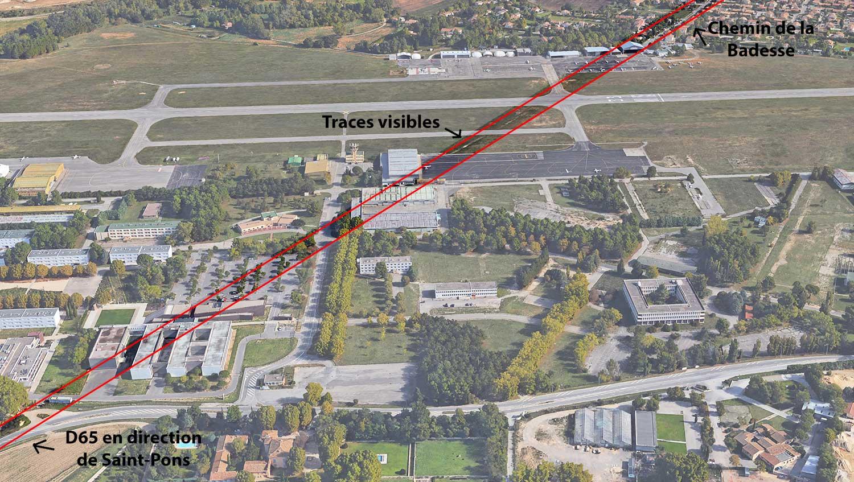 L'ancien tracé de la route passant autrefois à l'emplacement actuel de l'aérodrome des Milles - Photo: © Google Earth