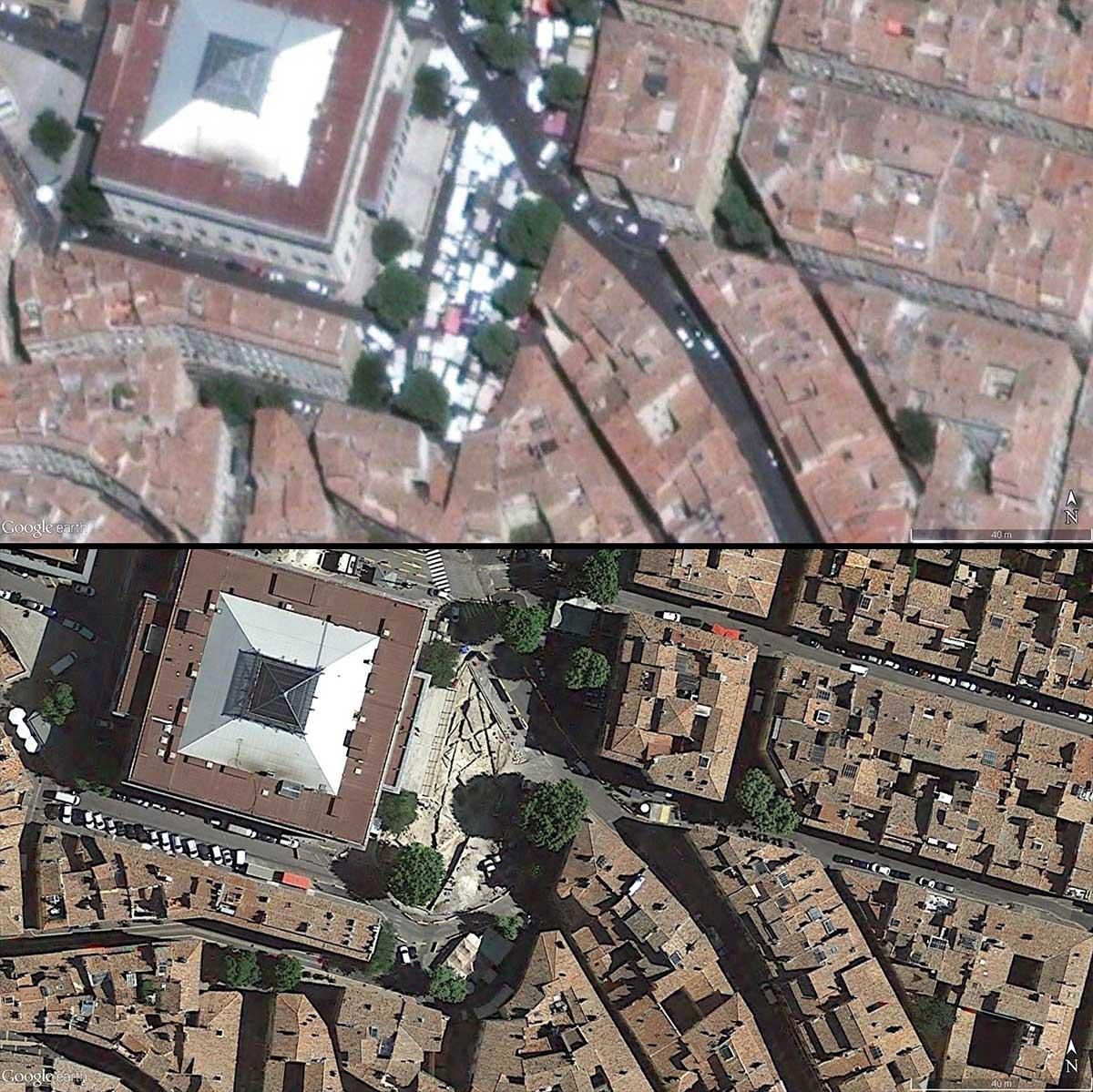 Le palais de justice de 216 à 2017 - Le chantier de fouilles est visible sur la photo du bas