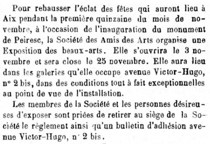 Extrait du Mémorial d'Aix du 11 août 1895 - Bibliothèque Méjanes - Cote JX 0042