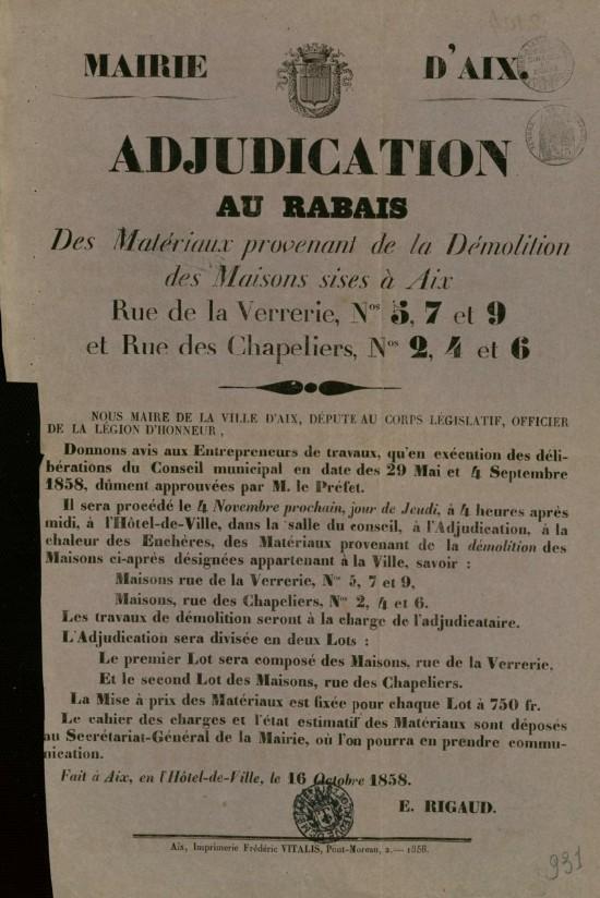 Bibliothèque Méjanes, Aix-en-Provence, cote : Aff. 1858.10.16