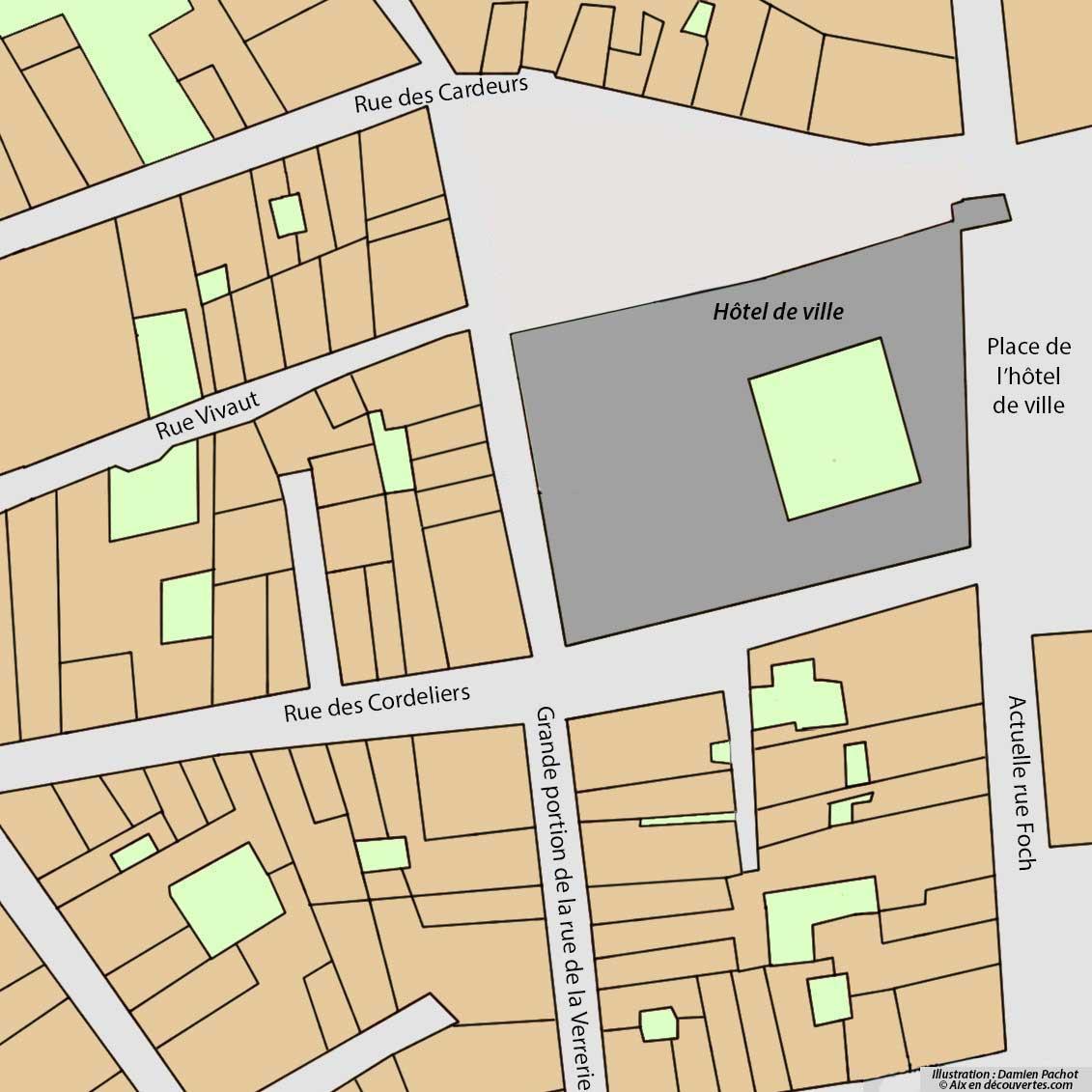 L'état du quartier après la destruction de l'îlot nord et l'agrandissement de l'hôtel de ville (tout début XXe siècle)