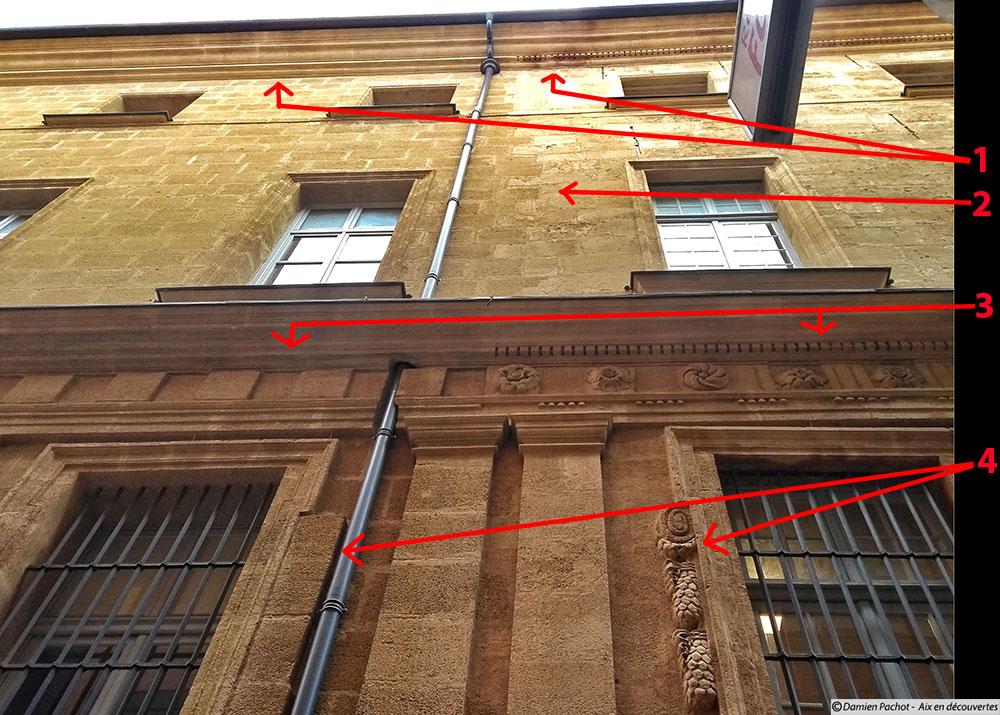 Les détails visibles depuis la rue de la Verrerie sur le mur ouest l'hôtel de ville entre la partie du XVIIIe (à droite) et celle ajoutée vers les XIXe - XXe siècles (à gauche)