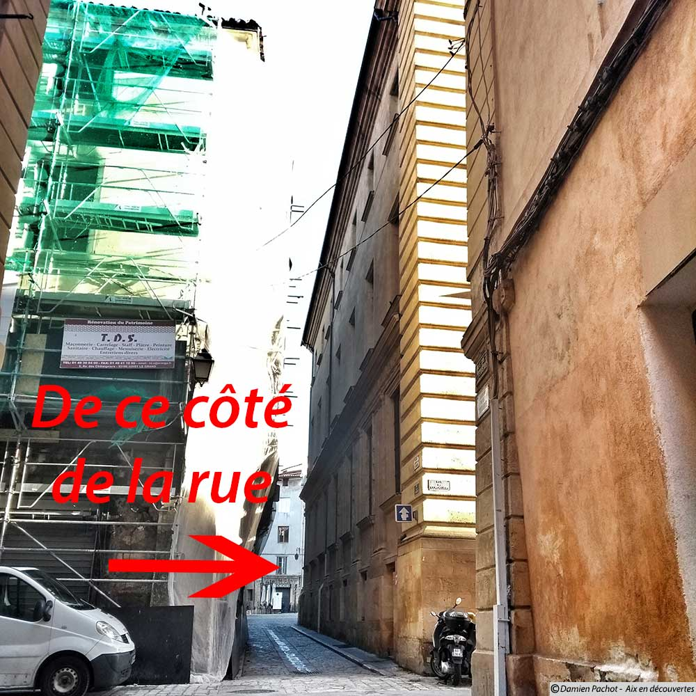 L'emplacement où devraient logiquement se trouver les numéros 1, 3, 5, 7, 9 de la rue de la Verrerie