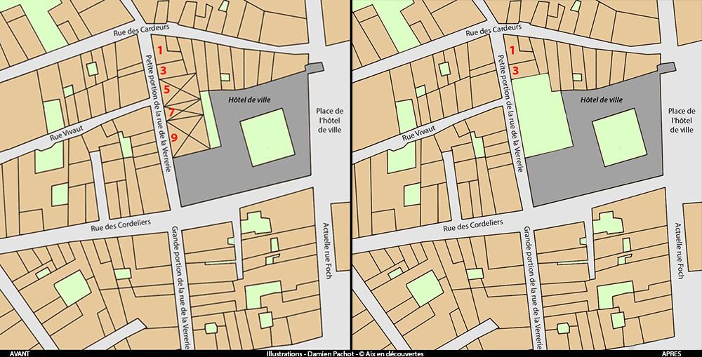 L'emplacement des n°détruits et l'état du quartier après leur démolition