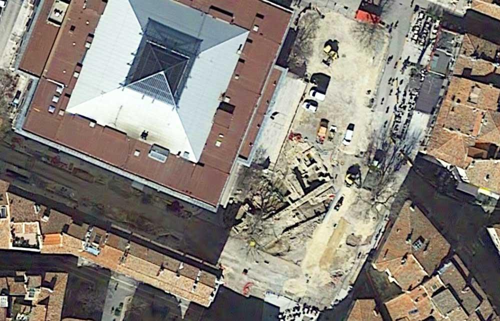 L'état du chantier de fouilles sur la place Verdun le 14 mars 2018 - Photo : © Google