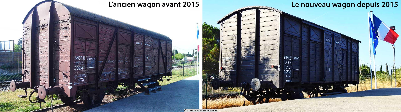 L'ancien et le nouveau wagon en souvenir de la déportation