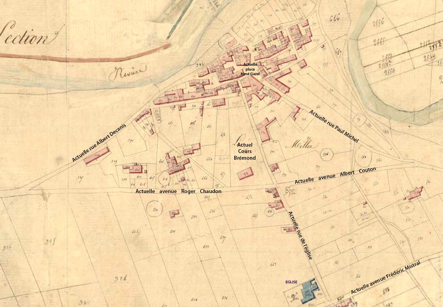 Le village des Milles sur le cadastre napoléonien vers 1830 - © Archives Municipales d'Aix-en-Provence