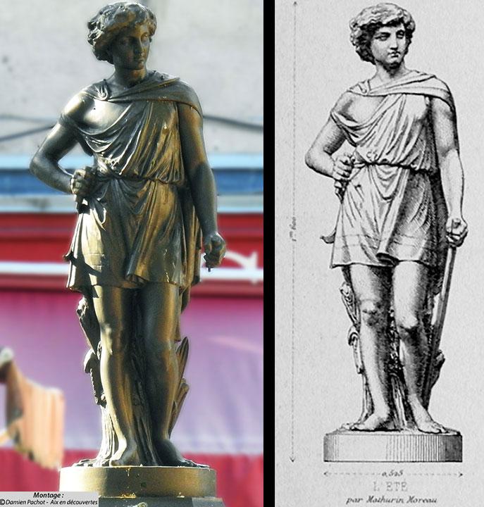 La statue aux Milles et sa représentation dans le catalogue de 1880 des fonderies du Val d'Osne où elle y est nommée