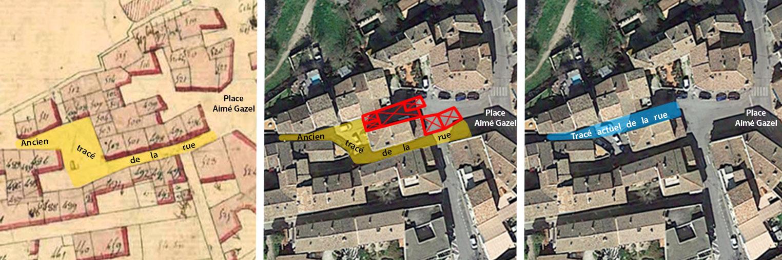 Illustration des maisons supprimées au XIXe siècle et du changement de tracé de l'avenue Albert Decanis - Photo de gauche :© Archives Municipales d'Aix / Photos du centre et de droite : © Google Earth