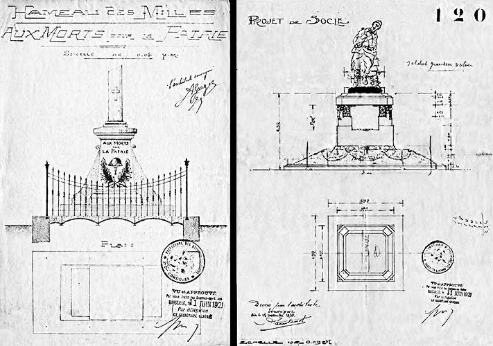 Plans des projets des monuments aux morts des Milles (juin 1921)