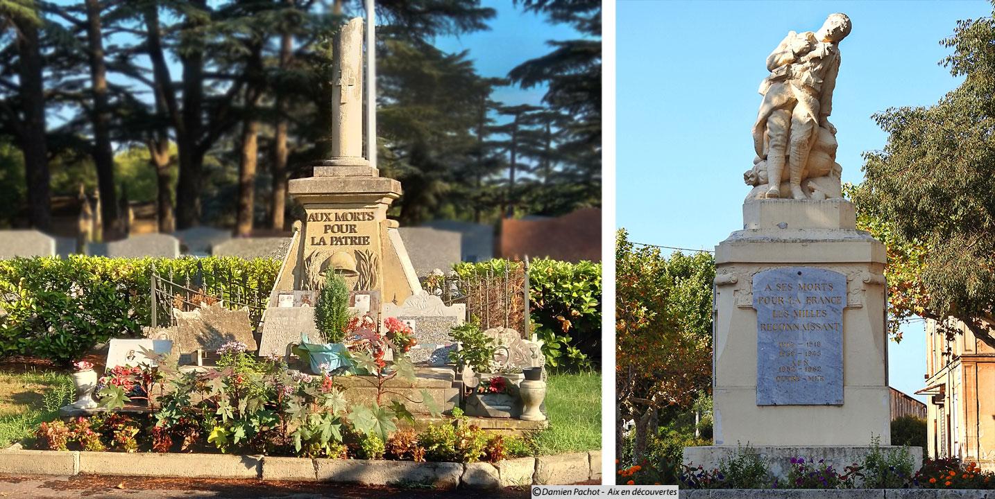 Le deux monumenrs aux morts du village - A gauche celui du cimetière, à droite celui face à la gare